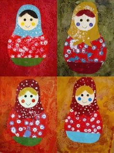 March Crafts, New Year's Crafts, Arts And Crafts, Matryoshka Doll, Art Plastique, Teaching Art, Elementary Art, Face Art, Art For Kids
