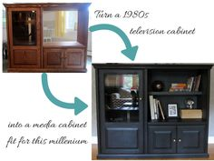 upcycle a 1980s entertainment center into a bookshelf media cabinet