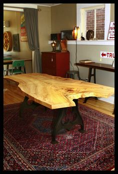 Industrial Table ~ Salvage maple burl slab atop two cast iron early metal lathe legs  By: Everything Vintage Co.  Check us out on Facebook!