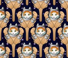 Space kitten, large fabric by hannafate on Spoonflower - custom fabric