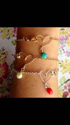 Gold Wire Heart Bracelets by MissChaosLLC on Etsy, $14.00