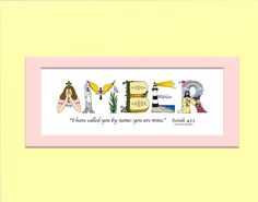 Boys baby christening gifts personalized by thechristianalphabet kids christian art print boys and girls personalized christian alphabet art custom name art in matted print negle Gallery