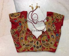 Kalamkari Work Short Sleeves Blouse | Saree Blouse Patterns