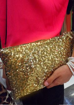Sequined Gold Clutch for bridesmaids