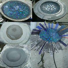 Cement Art, Concrete Crafts, Concrete Projects, Mosaic Projects, Diy Projects, Stone Mosaic, Mosaic Glass, Fused Glass, Glass Art