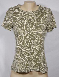 CROFT & BARROW Olive Green/Beige Leaf Print Top Medium Short Sleeves 100% Cotton #CroftBarrow #Top #Casual