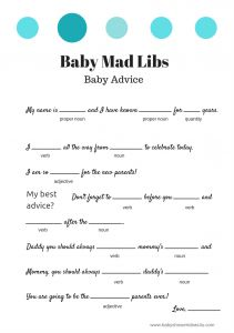 FREE Baby Mad Libs Game - Baby Advice - Baby Shower Ideas - Themes; different color options