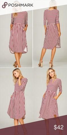 ❤️NEW❤️ Modest Striped Midi Dress Fall Beautiful dress! Modest enough for church, office, or any outing! Super cute! S M L Dresses Midi