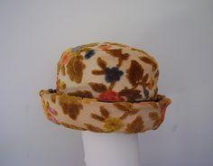 Floral Carpet Hat Mod Cut Velvet Union Label Cap. $55.00, via Etsy.