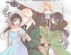 England and Seychelles with America and Vietnam: my fav hetalia couple! wait, I also like hungary and Austria/Prussia