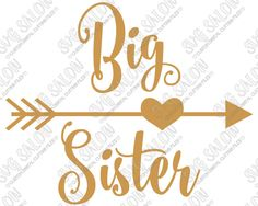 Big Sister Heart Arrow Custom DIY Iron On Vinyl Shirt Decal Cutting File in SVG, EPS, DXF, JPEG, and PNG Format
