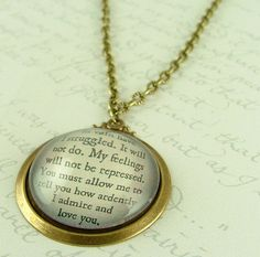 'In vain have I struggled. It will not do, my feelings will not be repressed. You must allow me to tell you how ardently I admire and love you.' Jane Austen Literary Lovers Book Quote Glass by JezebelCharms, $35.00