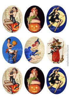 Digital Collage Sheet Vintage Pin Up Girls Halloween 30x40 mm oval images  Original  Printable 4x6 i