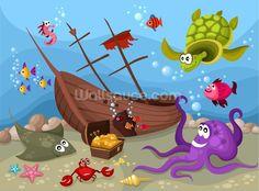 Sunken Ship wall mural