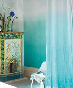 Designers Guild - Saraille Wallpaper in Aqua Designers Guild, Bamboo Wallpaper, Fabric Wallpaper, My Living Room, Interior Design Living Room, Dip Dye Curtains, Ombre Curtains, Deco Turquoise, Turquoise Walls