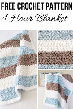 4 Hour Crochet Baby Boy Blanket for Beginners Try this easy and quick chunky afghan free crochet pattern. This fast baby blanket will take only 4 hours and will make a great baby shower Crochet Baby Blanket Free Pattern, Easy Crochet Blanket, Quick Crochet, Crochet For Boys, Crochet For Beginners Blanket, Crochet Gratis, Free Crochet, Baby Boy Blankets, Baby Afghans