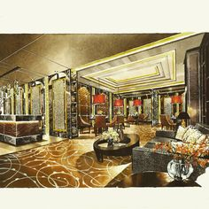 Photos and Videos Interior Rendering, Interior Sketch, Office Interior Design, Office Interiors, Interior Architecture, Interior And Exterior, Watercolor Illustration, Watercolour, Sketch Design
