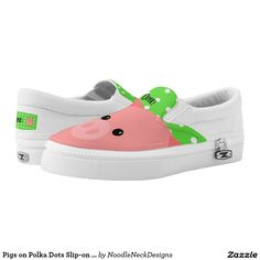 edf3be112b5f Pigs on Polka Dots Slip-on Shoes Printed Shoes Slip On Shoes