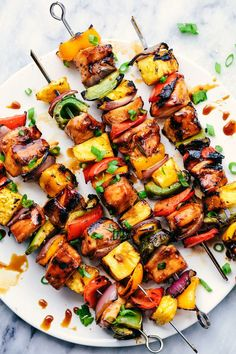 Teriyaki Chicken Skewers, Sauce Teriyaki, Hawaiian Chicken Kabobs, Grilled Chicken Kabobs, Chicken Kabob Marinade, Grilled Skewers, Chicken Kebab, Veggie Skewers, Baked Chicken