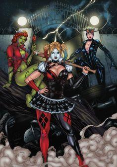 Gotham City Sirens artwork by Leo Matos 2014 colors by Gwendlg. Gotham City, Batman Arkham City, Dc Comics, Joker Und Harley Quinn, Superhero Superman, Gotham Girls, Marvel Girls, Marvel Art, Batwoman