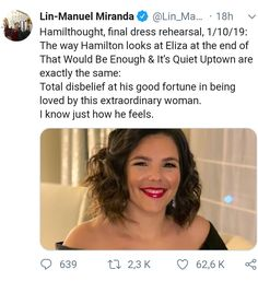 So is he saying that she's the best of wives and best of women? <<< you saw your chance and I am proud Alexander Hamilton, Theatre Nerds, Theater, Musical Theatre Broadway, Hamilton Lin Manuel Miranda, Hamilton Musical, And Peggy, Dear Evan Hansen, Oui Oui