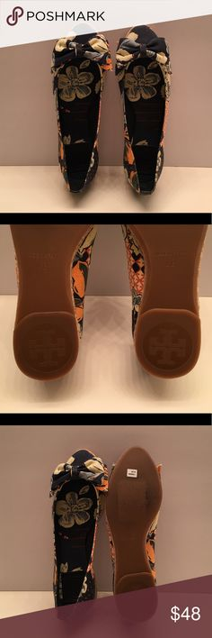 NEW TORY BURCH FLORAL FLAT SHOE New Tory Burch shoe ( Tamsin ) MSRP : $150 size: 6 B / color: blue with floral design/ Made in Spain / No BOX / No Weekend Shipping!!! Thank you!!! Tory Burch Shoes