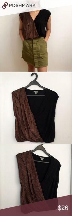 Crossover Top Brown and black together is super cute and not a fashion faux pas 😏 Brand is Ecote by Urban Outfitters. Bundle to get 15% off ❤️ Urban Outfitters Tops