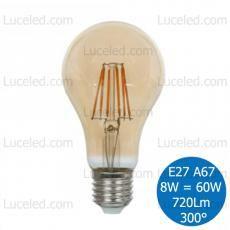 V-TAC VT-1958 LAMPADINA LED BULBO AMBRATA FILAMENTO E27 8W = 60W A67 300° 720LM