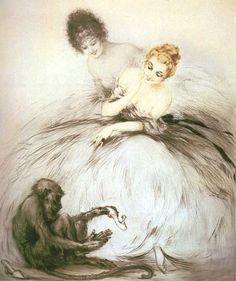 Louis Icart - Bewilderment (1920). We love art at Renaissance Fine Jewelry. Celebrate all  of life's moments www.vermontjewel.com. We treasure the knowledge we gain from the gift of artistic legends.