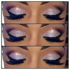 Stunning silver sparkled eyes with dark brown to nude on the upper lids - black liner & mascara finish off this make up look.x love this eye make up Cute Makeup, Gorgeous Makeup, Pretty Makeup, Gorgeous Eyes, Pretty Eyes, Flawless Makeup, Glamorous Makeup, Crazy Makeup, Sweet 16 Makeup