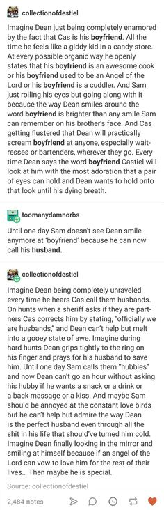 oKAY BUT MARRYING CASTIEL WOULD HONESTLY BE REALLY GOOD FOR DEAN'S MENTAL HEALTH B/C OF THE ANGEL THINKING HE'S WORTHY THING.
