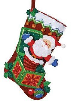 Bucilla Pop Up Santa Felt Christmas Stocking Kit