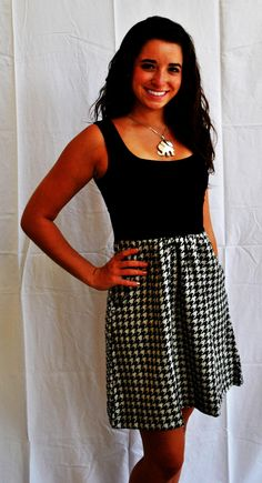 black houndstooth dress & elephant necklace      Check this out too ~ Great Sports Stories and Funny Audio Podcasts, Visit ~ RollTideWarEagle.com and while you're there, try our free Train Deck, to learn the rules of the game you love. #Alabamafootball #Alabama #RollTide