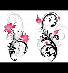 Leg tattoo, filigree with roses, lilies, or lotus