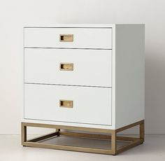 RH TEEN's Avalon 3-Drawer Nightstand:The sleek lines of our collection capture the sophisticated restraint of modernism, while its polished cast-metal fittings – including recessed pulls and a metal base – take it in a new direction.