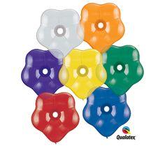 "#burtonandburton Jewel Tone Assortment 16"" GEO Blossom latex pk/50Quartz Purple, Sapphire Blue, Emerald Green, Ruby Red, Citrine Yellow, Mandarin Orange,"