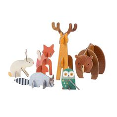 These sturdy cardboard woodland animals are so much fun to build and even more fun for creative play! Petit Collage Pop Out and Play Sets are perfect for little hands and budding imaginations! Made with vegetable inks and thick recycled stock Kids Crafts, Craft Kits For Kids, Diy For Kids, Arts And Crafts, Cardboard Animals, Cardboard Toys, Thick Cardboard, Hanging Mobile, Hanging Art