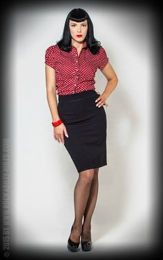 Rumble59 Ladies - Bluse - Sweet Polkadots - rot #rumble59 #50s #vintage #polkadot