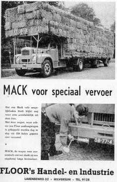 MACK SB-77-43 beladen met stro en vastgezet met bingen- touw met katrol