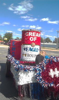 Homecoming parade float.  Can the Eagles!