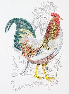 "'Rooster' by Kathleen Benton | $250 | 22""w x 30""h | Original Art | http://www.arttwo50.com/buy/art/rooster--2"
