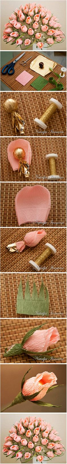 DIY Beautiful Chocolate and Crepe Paper Flower Bouquet #craft #decor #paper_flower
