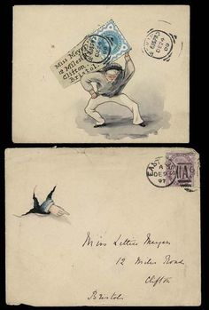 1897 -1900 envelopes (all Dec.) to 'Miss Meyer' in Bristol,hand illustrated, the first with a clever coloured picture of a hand pointing out of a tear in the envelope (some cover imperfections),  and the second depicting a sailor carrying a trunk on one side of which is written the address with the stamp
