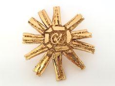 Large Authentic Vintage CHRISTIAN LACROIX CL Logo Star Sunburst Brooch