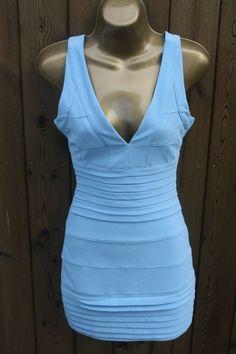 Womens Powder Blue Missguided Size UK 6 Bandage Sleeveless Mini Dress Bodycon