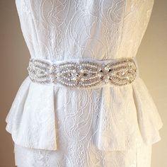 Milena Bridal Belt Boho Wedding Belt Sash White Bridal by Cynthier