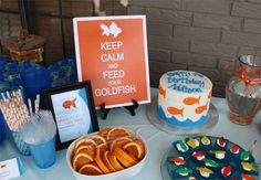 Goldfish party table {with food ideas}