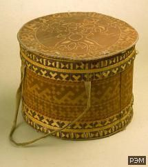 Birch-bark box for storage of products.  Khanty.  Tobolsk Province., Berezovsky district.  The beginning of XX century.  Funds SEM.