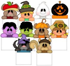 Baggie Buddies Fall and Halloween! Moldes Halloween, Adornos Halloween, Manualidades Halloween, Halloween Clipart, Halloween Painting, Halloween Drawings, Halloween Cards, Holidays Halloween, Costumes