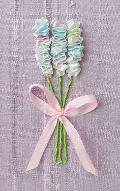 Pastel Flower Bouquet Card. Silk Ribbon Embroidery by bstudio